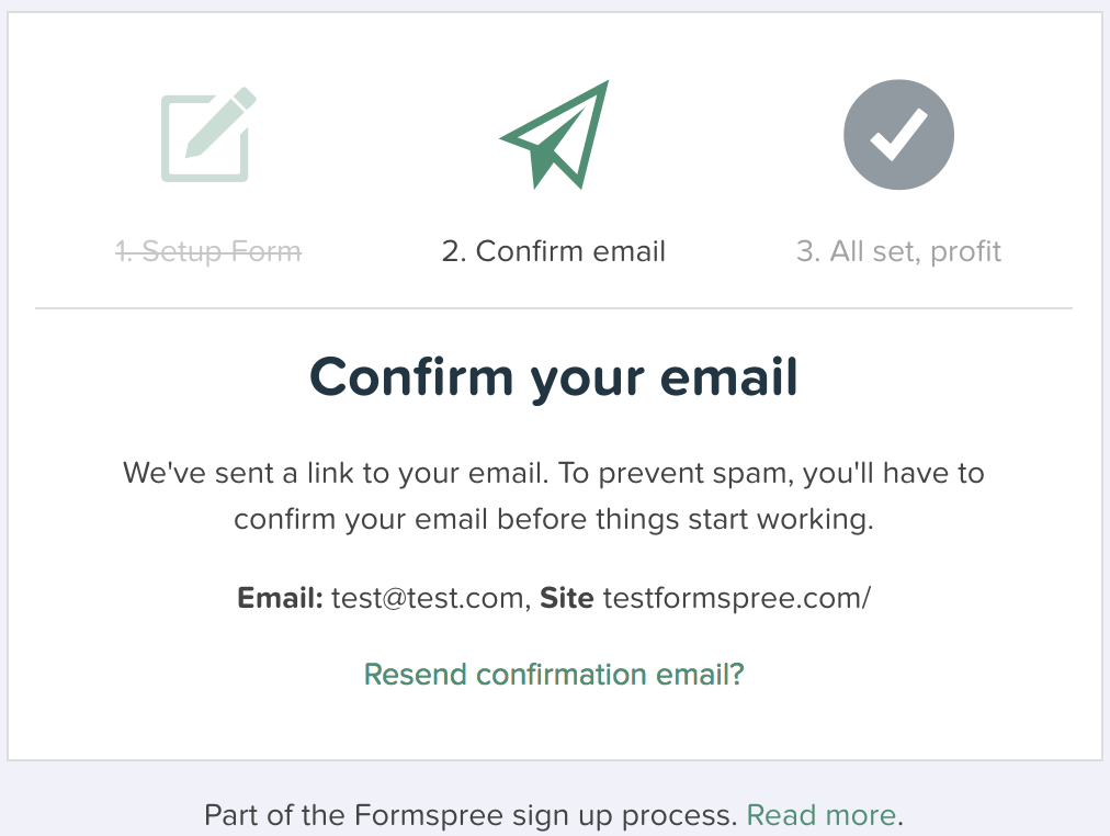 Formspree sign-up process for contact form email